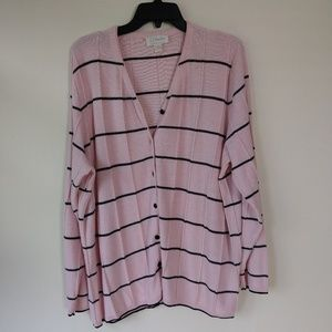 CJ Banks Pink and Black 3xl Cardigan Career Wear